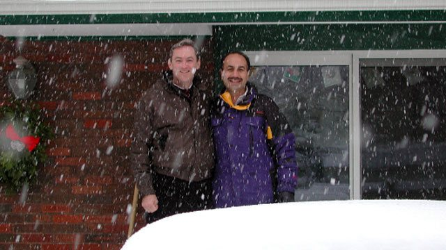 Two colleagues of Convergint in a snow storm header image