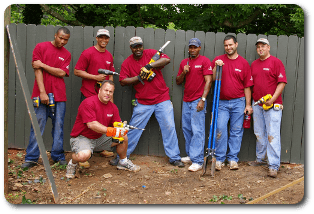 Convergint Colleagues Group photo with power tools