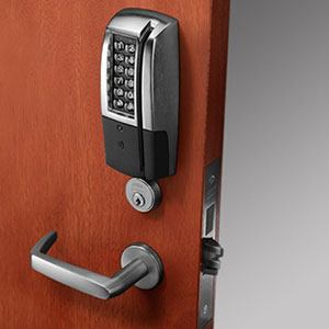 Security number lock on door