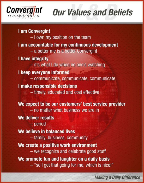 Convergint Technologies 10 Values and Beliefs