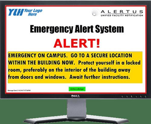 Convergint Emergency Alert Screen on Computer