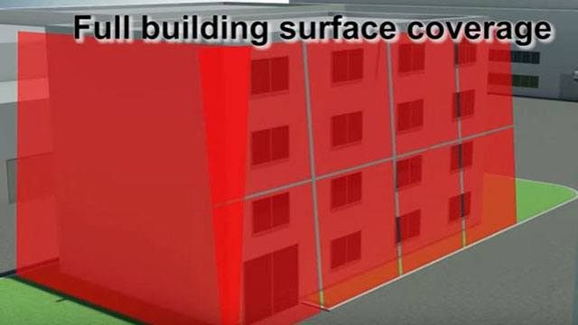 Building with laser coverage and full building surface coverage header image