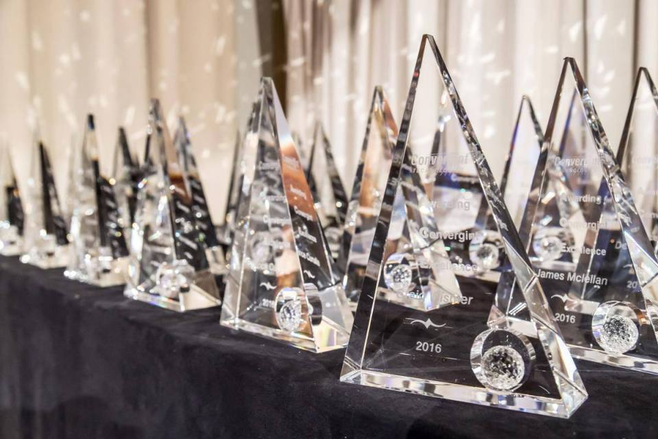 Awards lined up on a table