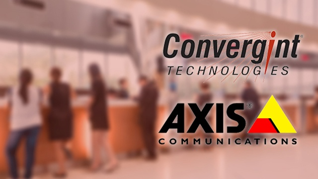 People in a bank branch lobby with Axis Communcations and Convergint logos