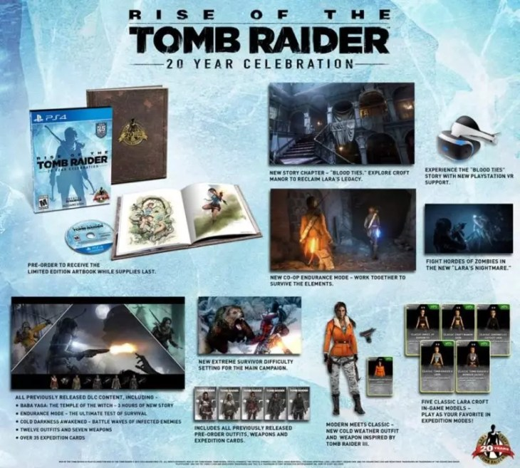 Rise of The Tomb Raider 20 Year Celebration todos detalhes