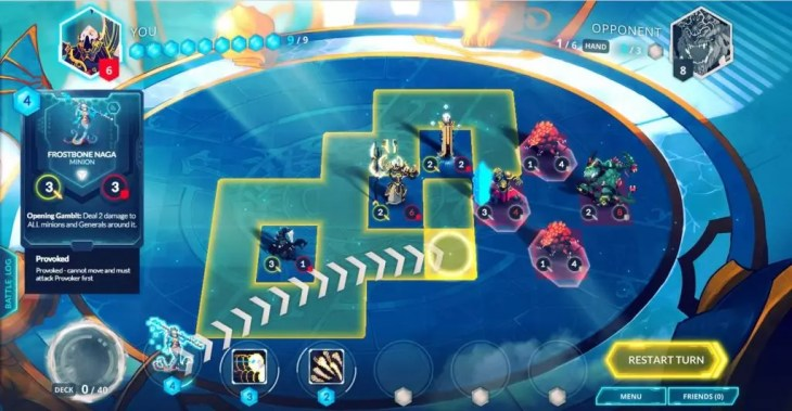 Gameplay do jogo Duelyst