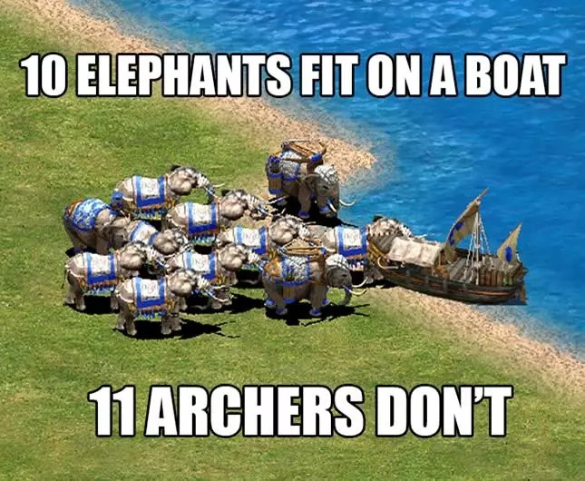 elefantas no barco em Age of the Empires 2
