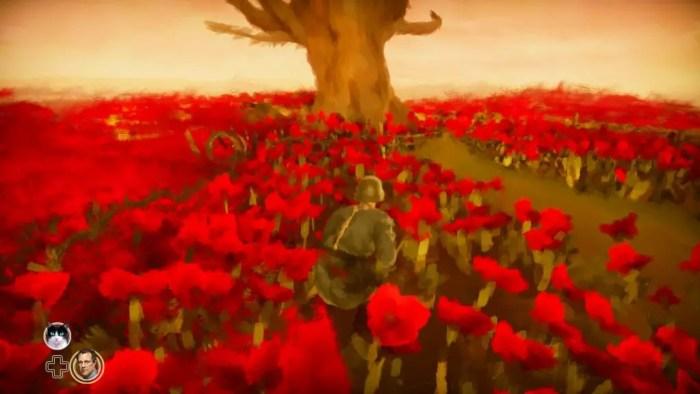 Kurt se escondendo na terra de ninguém, em meio as flores de papoula