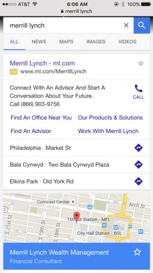 merrill lynch mobile adwords campaign
