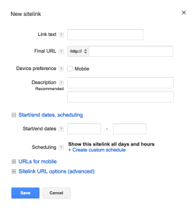 AdWords Sitelink Extensions setup screen