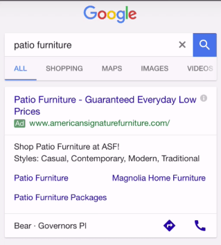 Google search for patio furniture