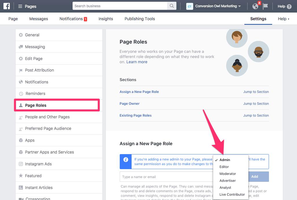 giving admin access facebook 4