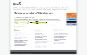marketo confirmation page optimization