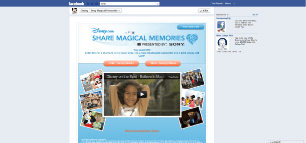 Facebook landing page optimization - disney