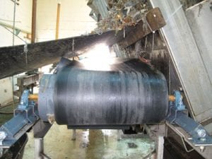 Conveyor system pulley at wastewater treatment plant