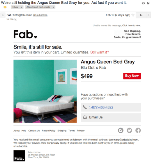 Fab abandoned cart email