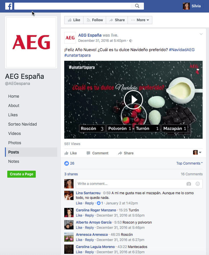 AEG Facebook Live Poll and Sweepstakes