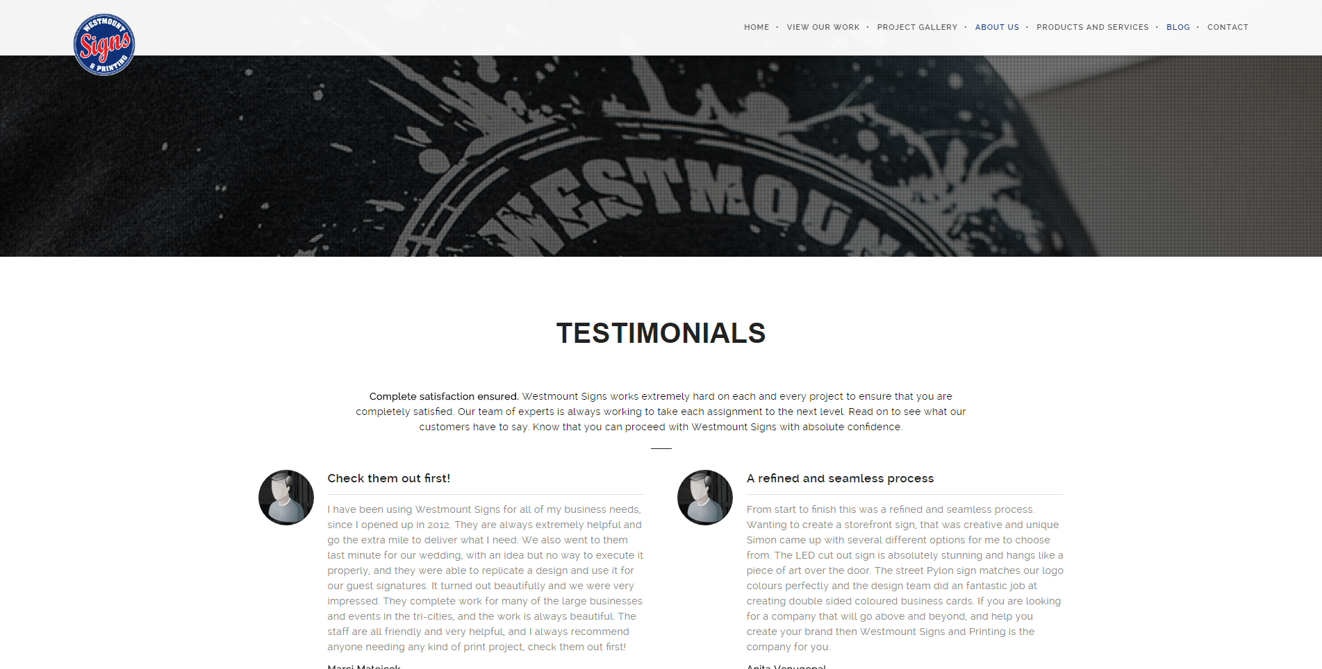 Westmount Signs testimonials build trust