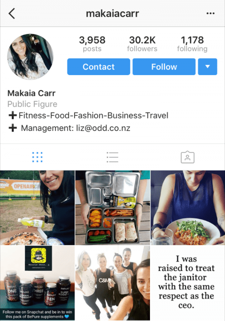 Example of Instagram business profile
