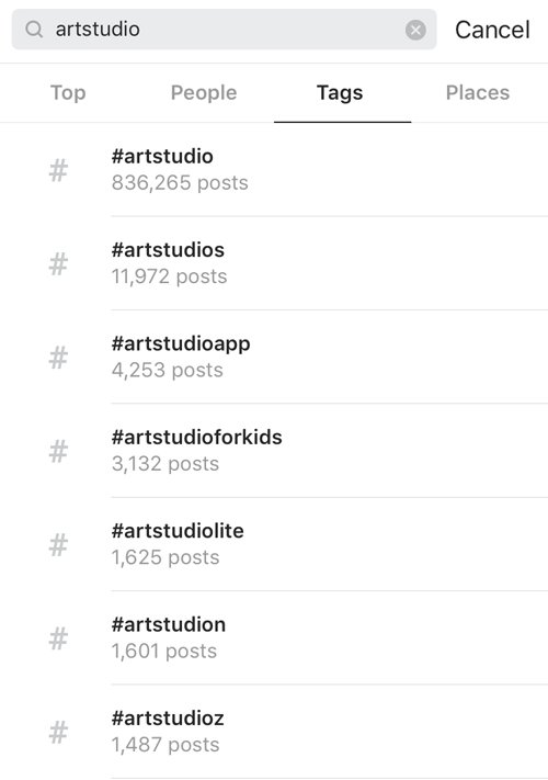 Image of Instagram hashtag search