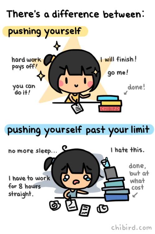 pushing yourself vs pushing past your limit
