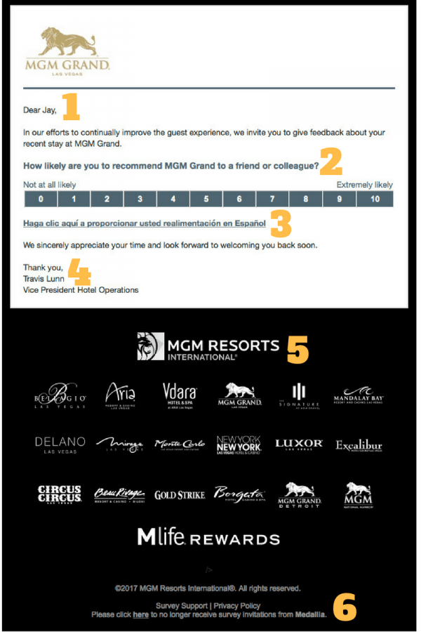 MGM Net Promoter Score Survey Email
