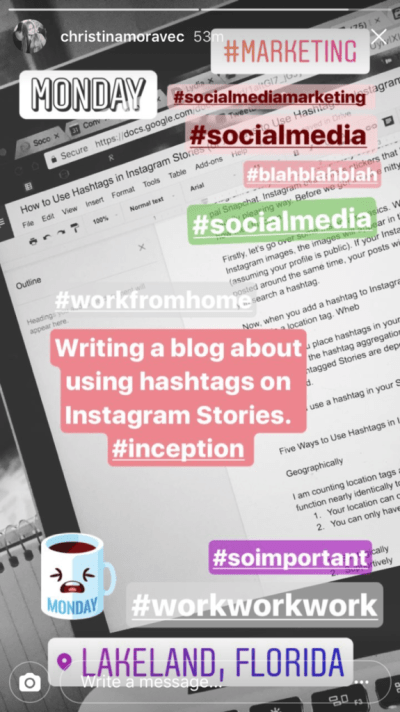 Hashtags on Instagram Stories