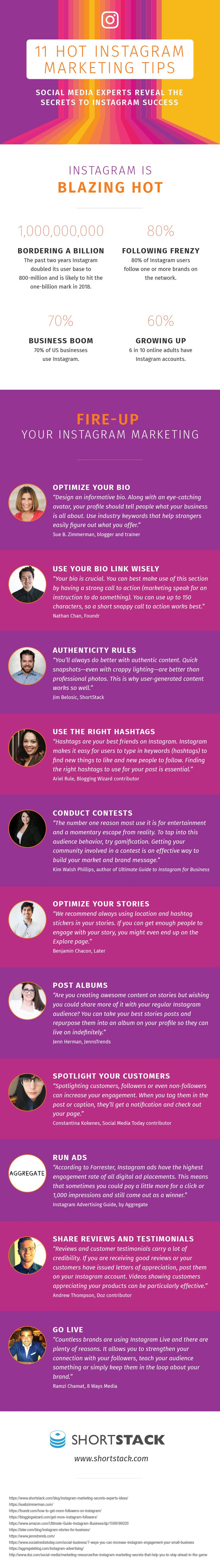 Instagram Marketing Tips from the Experts, infographic