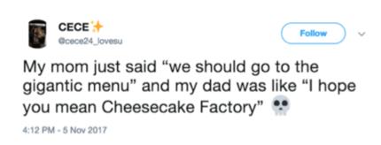 tweet about the huge Cheesecake Factory menu