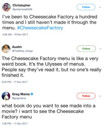 tweets about the cheesecake factory