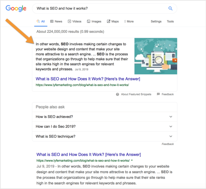 This is what featured snippets look like.