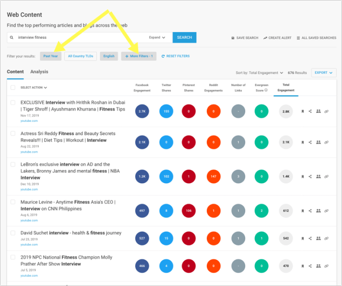 Buzzsumo for Videos Example