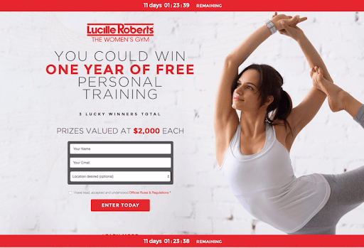 Contest Landing Page Example from Lucille Roberts