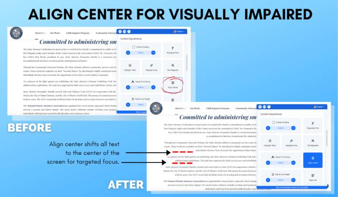 Align Center for Visually Impaired