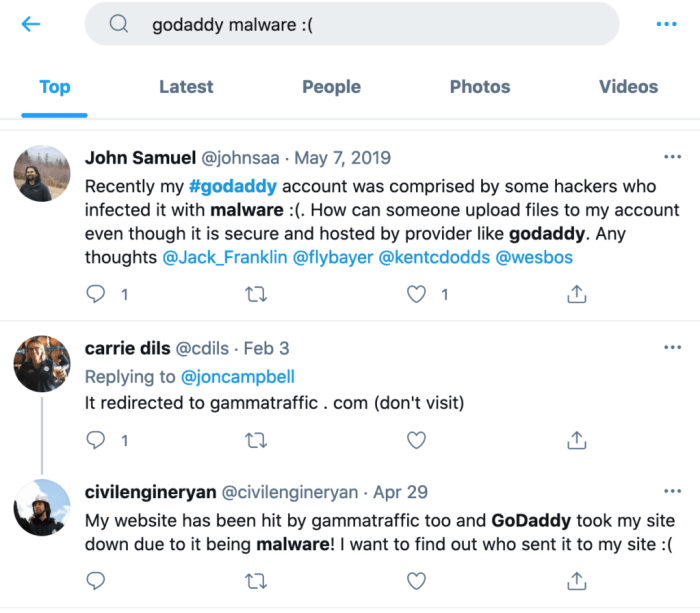Example of how to check Twitter for complaints about your hosting provider.
