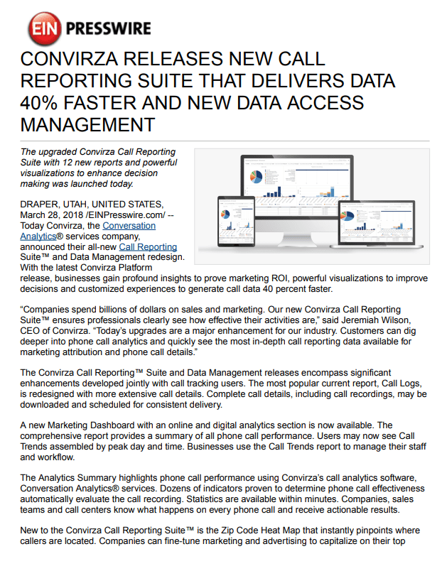 New Convirza Call Reporting Suite