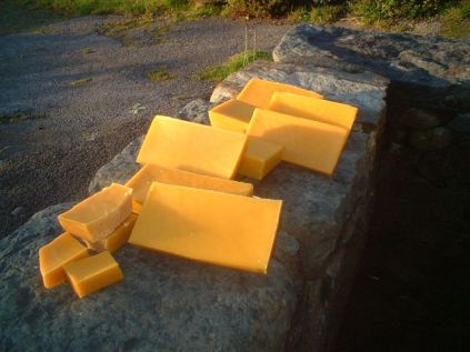Large blocks of locally-produced beeswax
