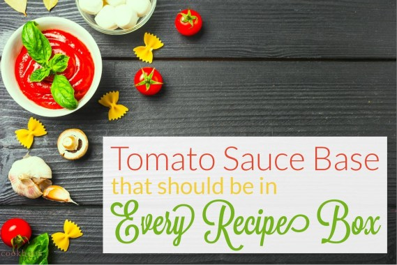 """tomato sauce ingredients on wooden planks with text """"Tomato Sauce Base That Should Be in Every Recipe Box"""""""