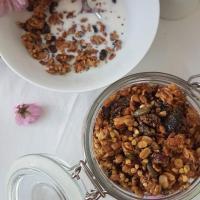 Ajdova granola z brusnicami, bučnicami in sončničnim maslom
