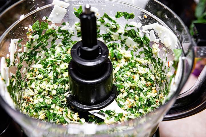 pesto in a food processor.
