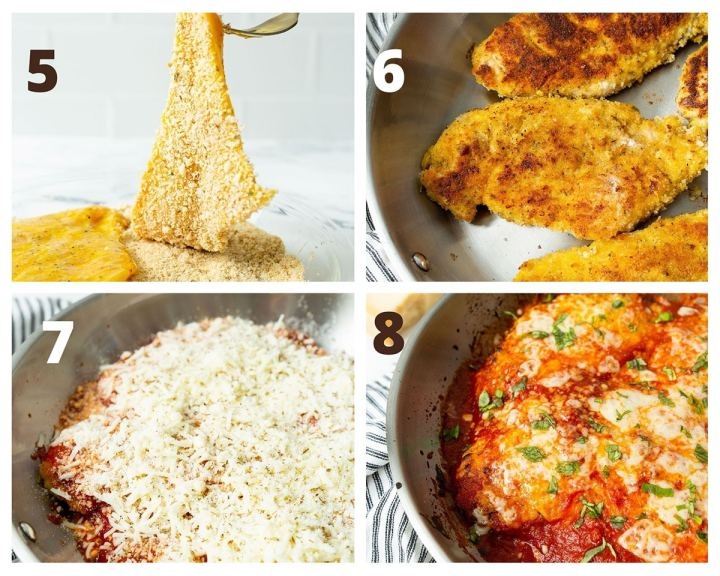 a photo collage with four photos. chicken breasts coated in flour, then fried in a skillet and covered with mozzarella cheese and sauce.
