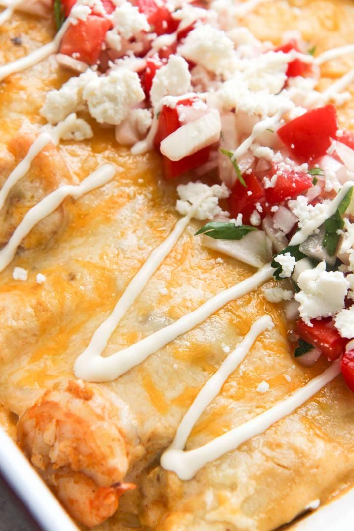 seafood enchiladas up close.