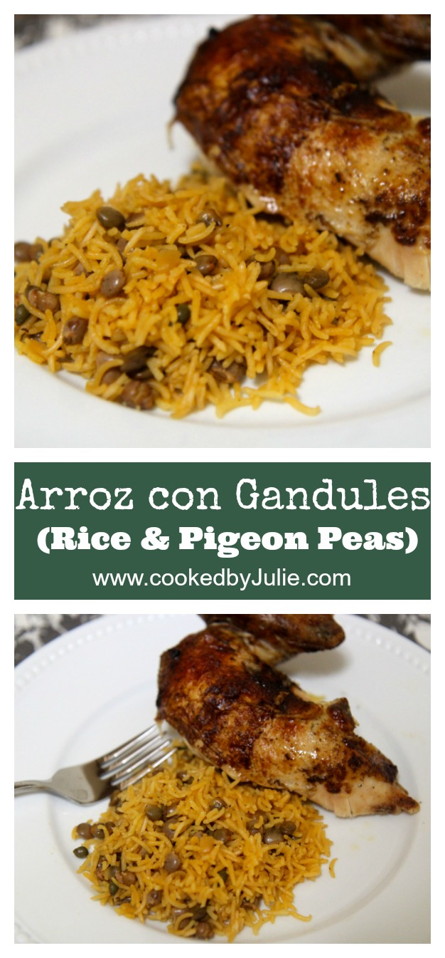 Learn how to make this Arroz con Gandules or Rice & Pigeon Peas recipe at CookedbyJulie.com