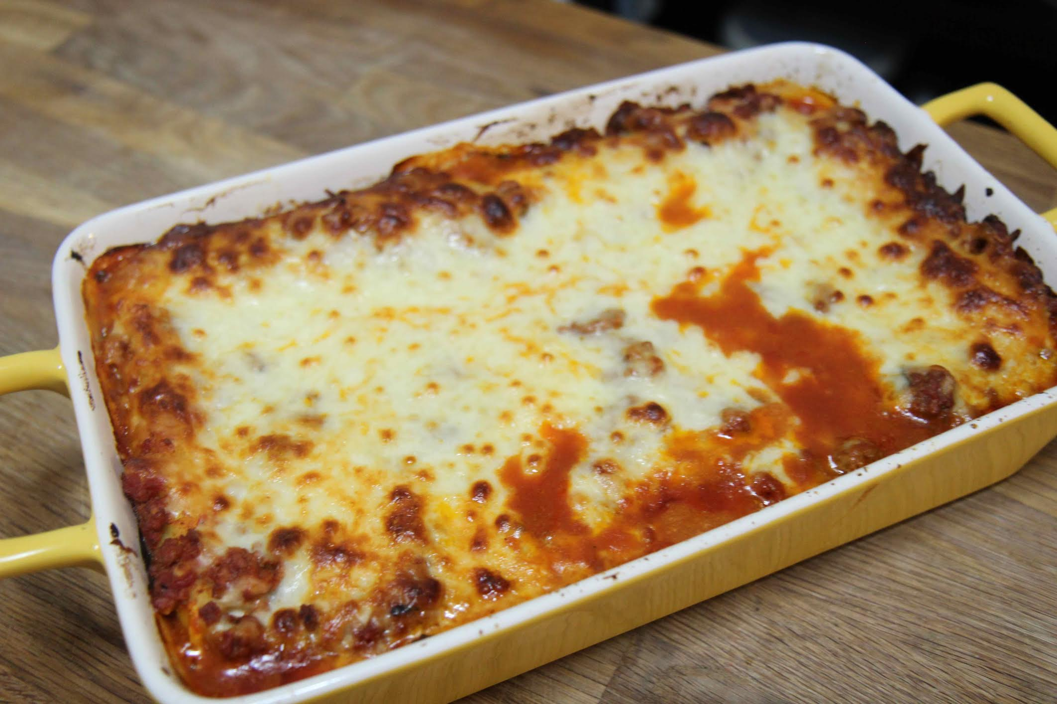 Delicious homemade Manicotti with meat sauce and cheese