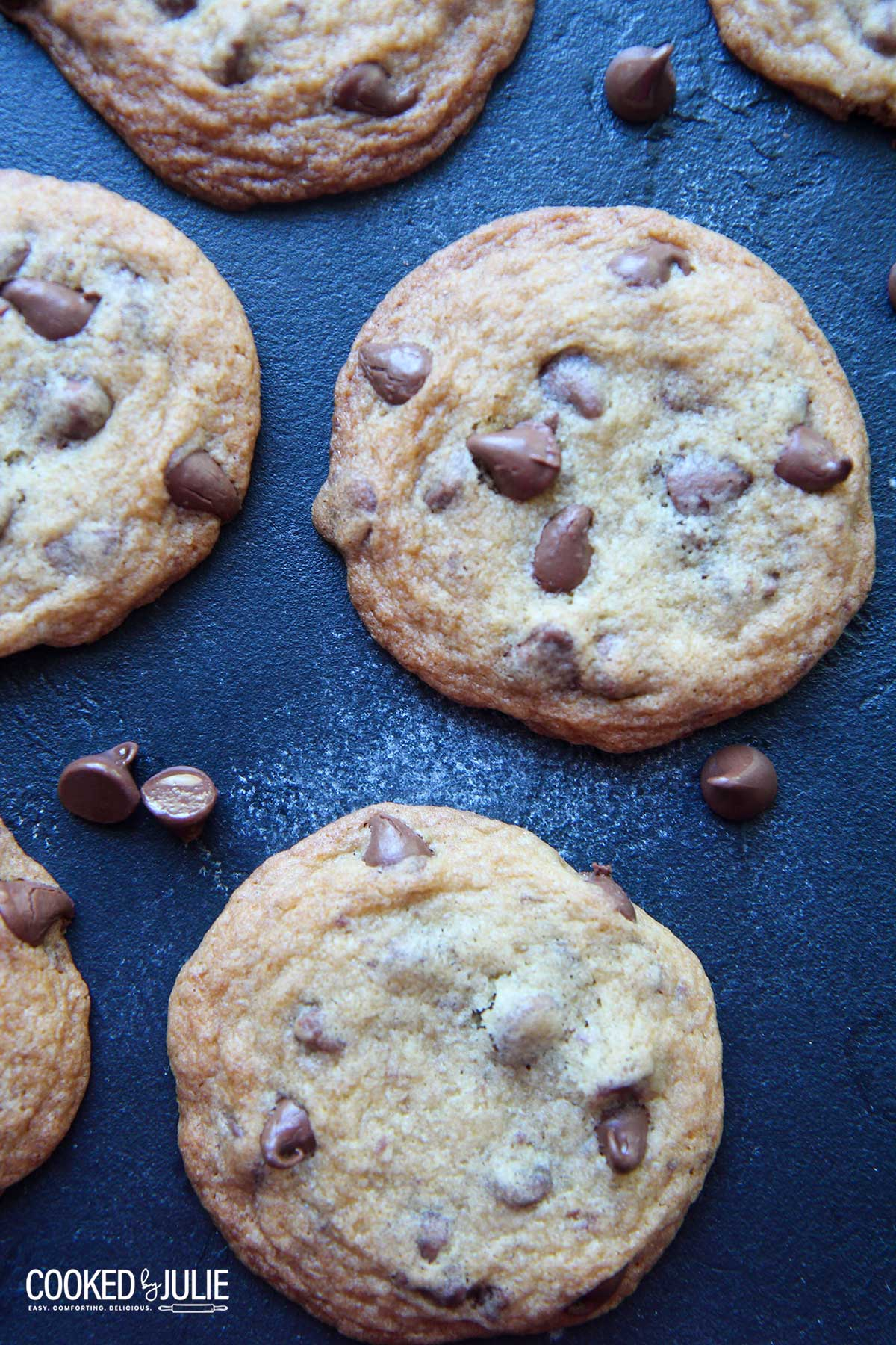 chocolate chip cookies on a blue board