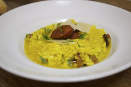 Risotto served with spicy chorizo to play off the flavors and textures.
