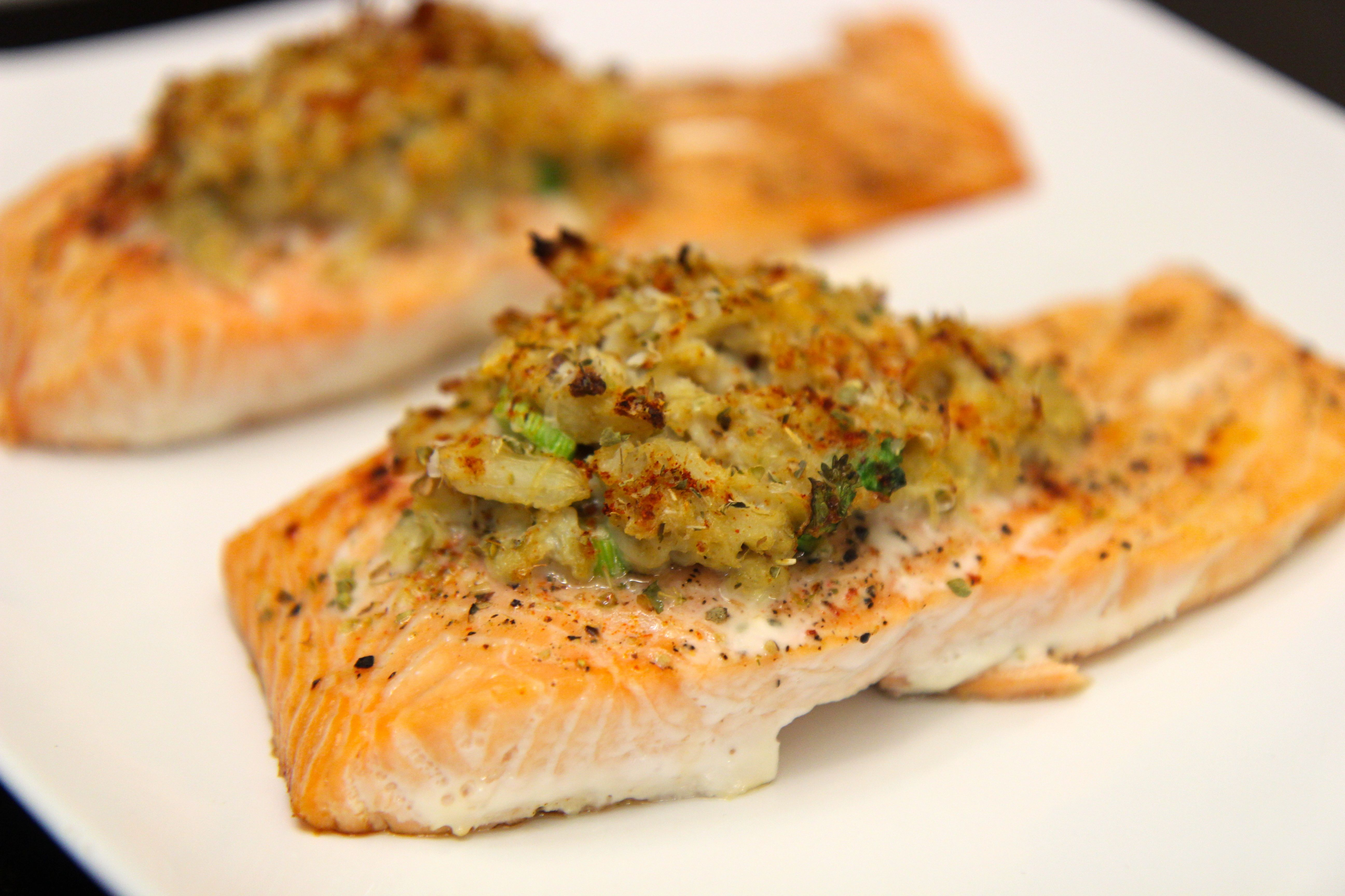 These crab stuffed Salmon use very little spices and are a light meal that's filling.