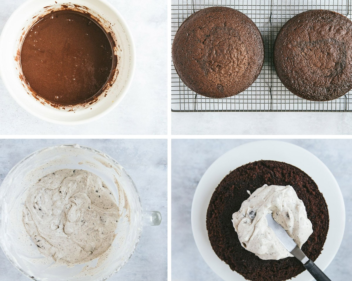 a collage with four photos. Chocolate cake batter in a bowl, two chocolate cake layers, oreo frosting in a bowl, and a cake beign frosted with a spatula.