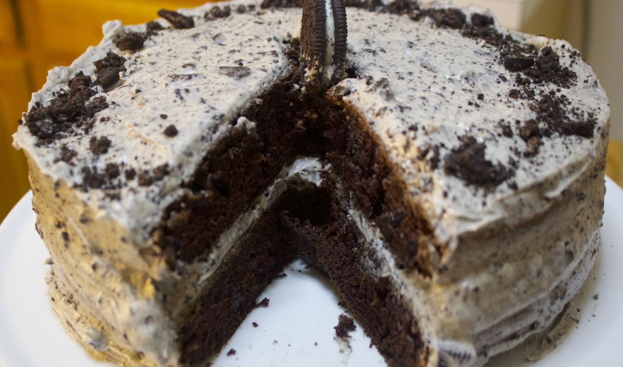 Chocolate oreo cake with oreo buttercream filling and oreo cookie crumbs.
