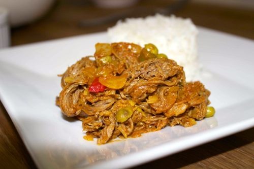 Cuban ropa vieja and white rice.